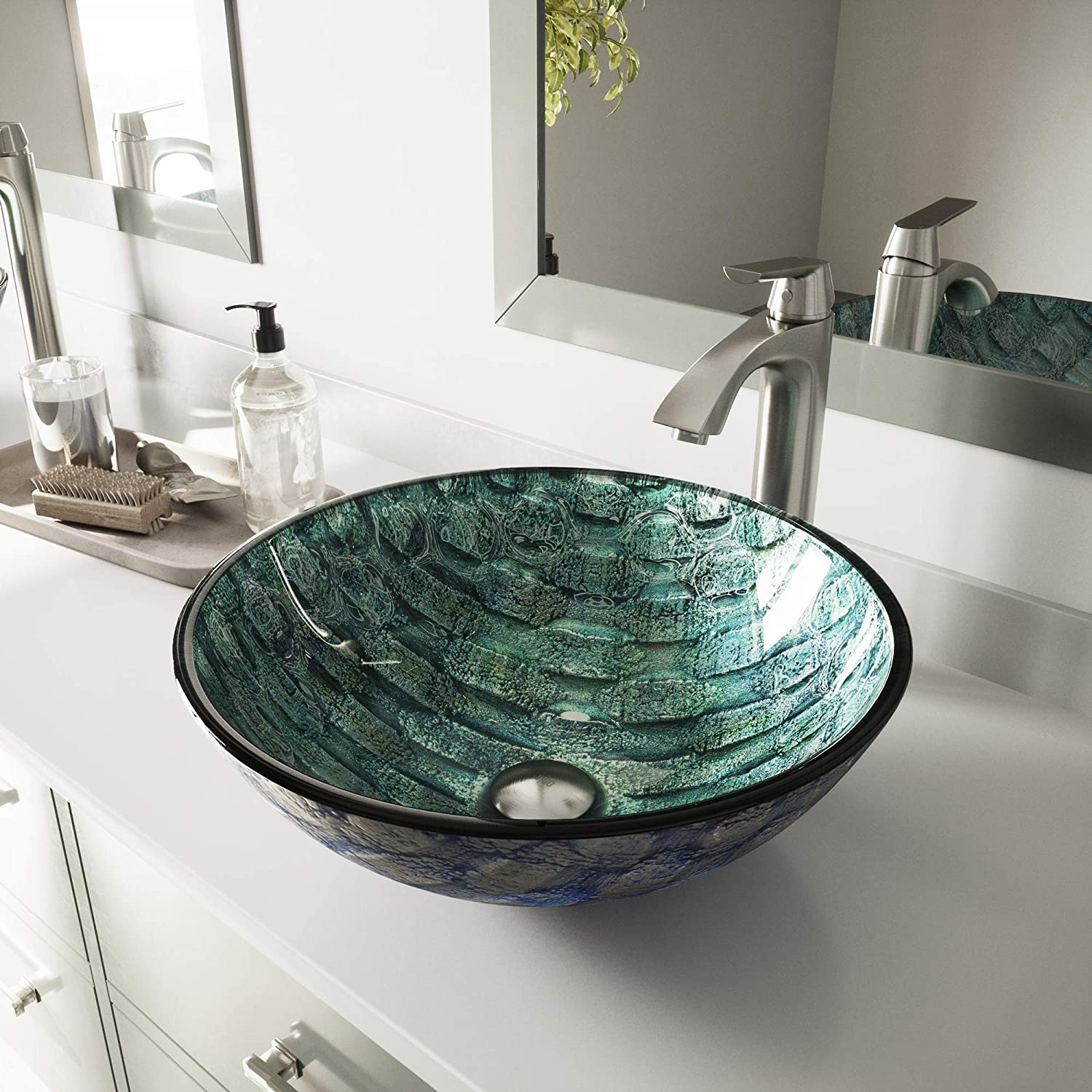 VIGO VG07049 Glass Above counter Round Bathroom Sink, 16.5 x 16.5 x 6 inches, Aqua Blue And Sea Green Oceania