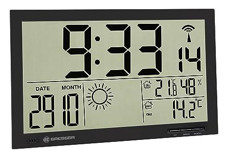 Bresser meteorológica de Pared Reloj con estación meteorológica MyTime Jumbo LCD, Negro
