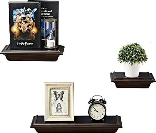 YFDZONE Wood Floating Shelf Wall Mounted Storage Shelf for Bedroom, Living Room, Bathroom, Kitchen, Office,Set of 3 Black