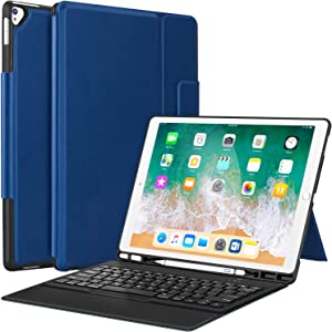 "iPad Pro 12.9 Case with Keyboard Compatible for iPad Pro 12.9"" 2015/2017, Ultra-Thin PU Leather Silicon Rugged Shock Keyboard Stand Case with Pencil Holder (Not Fit for 2018 New ipad)-Blue"