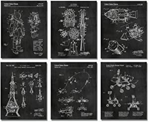 """Space Patent Prints - Set of SIX 8""""x10"""" Wall Art Decor - Great Gift for Engineers"""