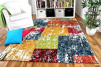 Vintage Wohnzimmer Designer Gabbeh Teppich Patchwork Bunt Blau ...