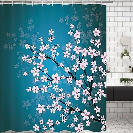 Waterproof Shower Curtain Bath Curtains Seaside Animal Room Divider 12 Hooks