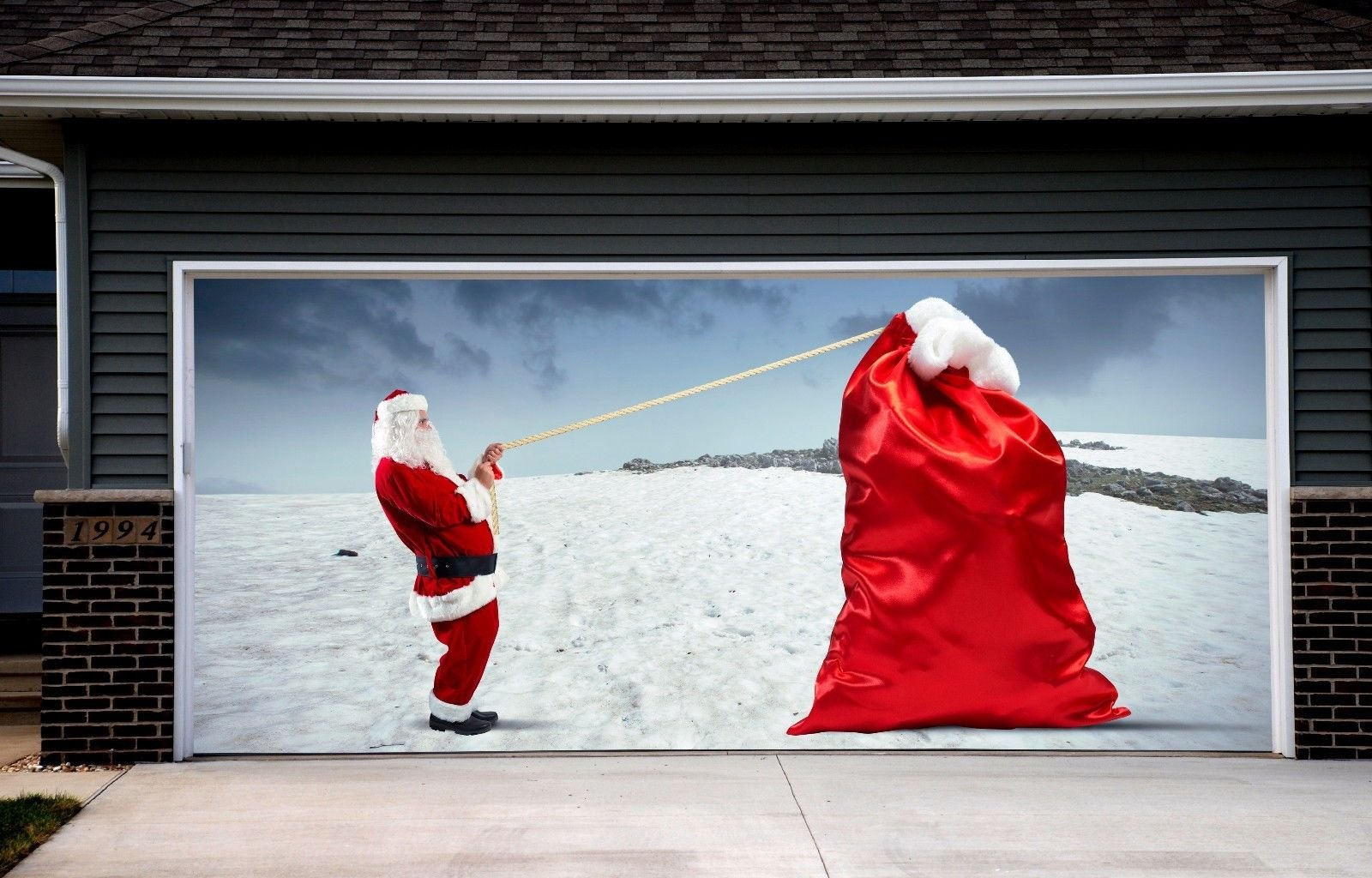 Christmas Garage Door Covers Banners Outdoor Holiday Full Color Santa Claus SPECIAL EXTERNAL USE MATERIAL REUSABLE Decorations Billboard for 2 Car Garage Door Art Murals size 82x188 inches DAV111 by WallTattooHome
