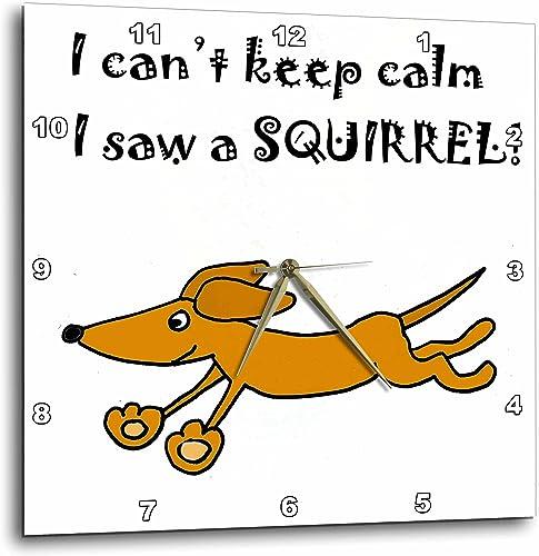 3D Rose Funny Dachshund Dog Chasing Squirrel Wall Clock