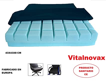 Cojín antiescaras para silla de ruedas, sillón o silla de oficina ANTIPRESIÓN VISCOELÁSTICO, de Vitalnovax. Para el tratamiento de úlceras por ...