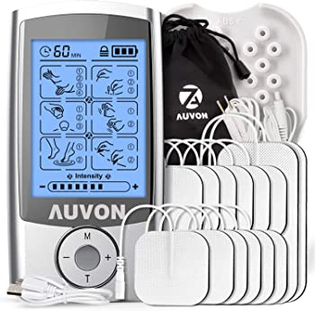 Auvon Rechargeable TENS Unit Muscle Stimulator with 12 Pads