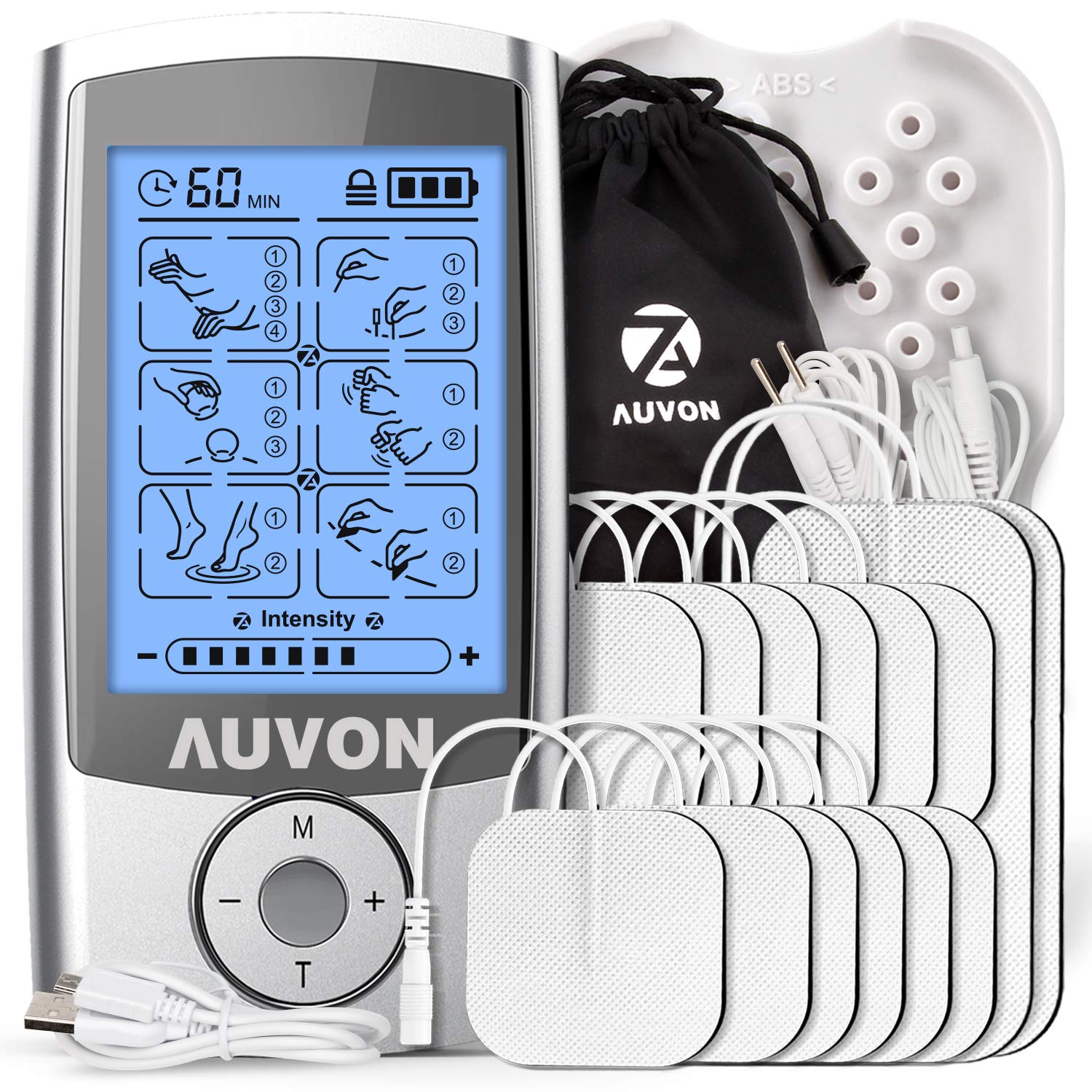 AUVON Rechargeable TENS Unit Muscle Stimulator (Famliy Pack), 3rd Gen TENS Machine with 16 Preset Modes, Pads Holder, 12pcs 2''x2'' and 2pcs 2''x4'' Electrode Pads (Gel Made in USA) by AUVON