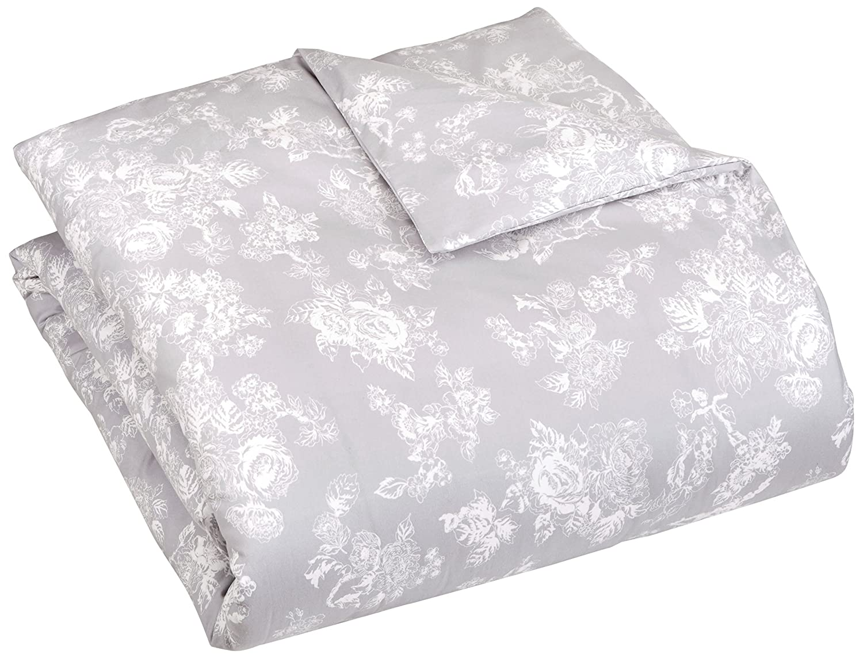 Pinzon 170 Gram Flannel Duvet Cover – King, Floral Grey