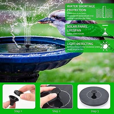 LED Solar Powered Water Feature Pump Fountain Night Floating Garden Bird Bath