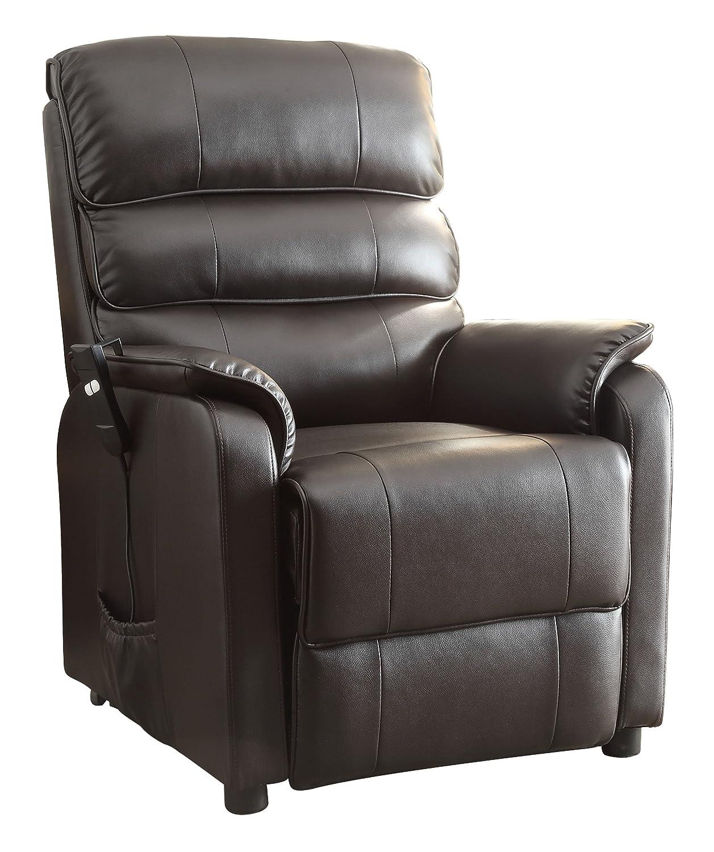 dark brown leather recliner chair. amazon.com: homelegance kellen power lift bonded leather recliner, dark brown: kitchen \u0026 dining brown recliner chair