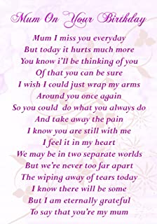 Mum On Your Birthday Memorial Graveside Poem Keepsake Card Includes Free Ground Stake F157