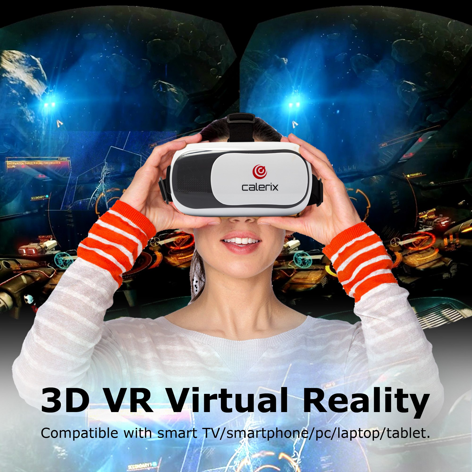 3D Virtual Reality Game Glasses Gaming Headset by Calerix Cardboard Kit Mobile Cinema Helmet with Bluetooth Remote Control and Blue-Ray Compatible with Smartphone iPhone Samsung Android by Calerix (Image #9)