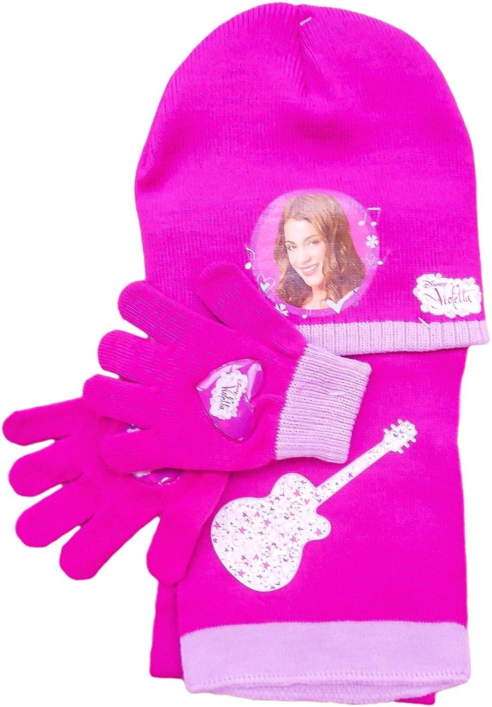 Disney Violetta Mütze, Schal und Handschuhe SET Lila oder Pink
