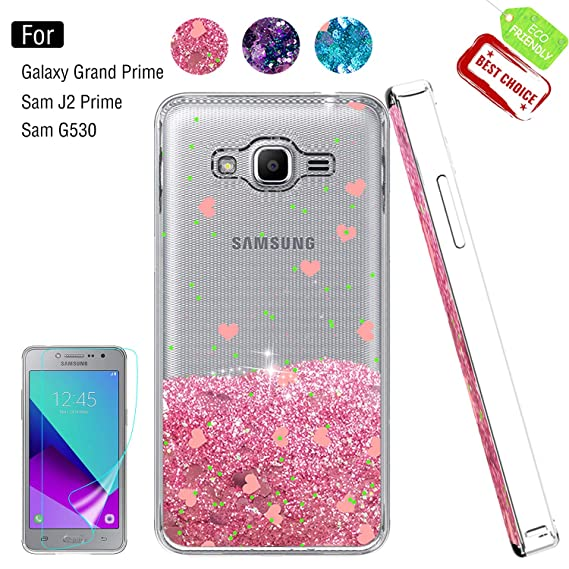 sports shoes 26e39 3611f Galaxy Grand Prime Case, J2 Prime Case with HD Screen Protector for Girl  Woman, Atump Cute [Glitter Liquid] Clear TPU Bumper Back Protective Phone  ...