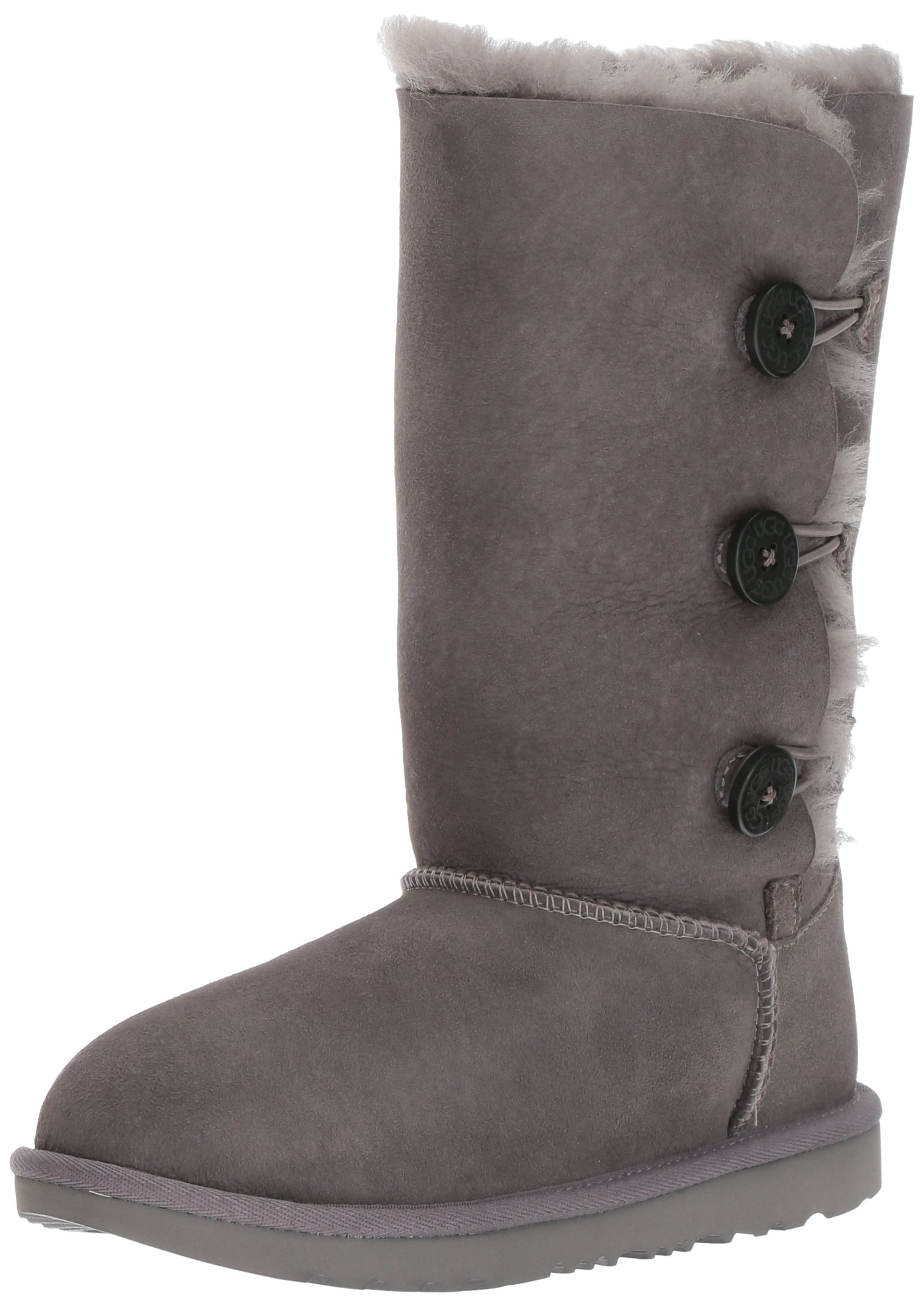 UGG Girls K Bailey Button Triplet II Pull-On Boot, Grey, 3 M US Little Kid