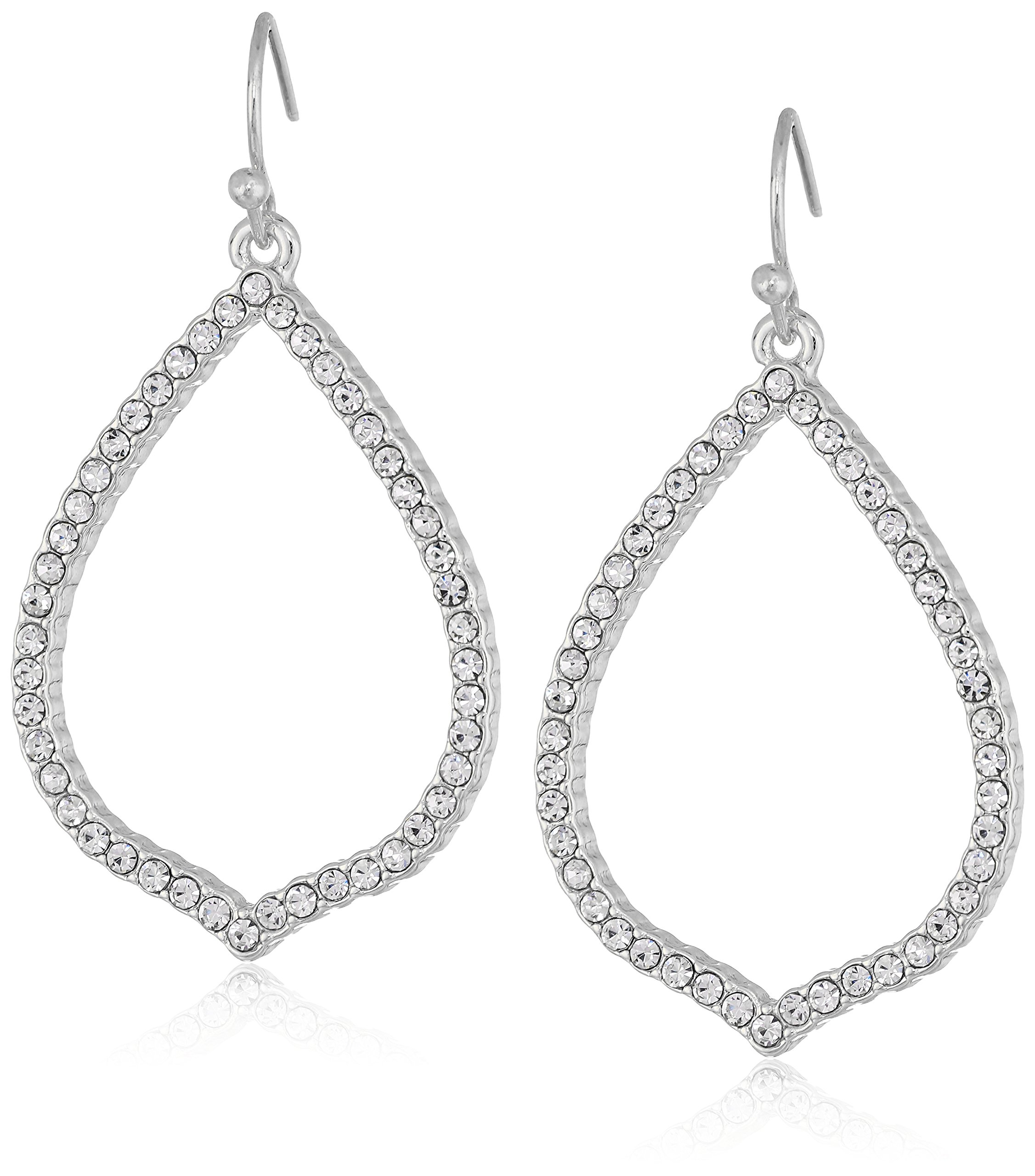 T Tahari Essentials Women's Pave Teardrop Hoop On Fish Wire Drop Earrings, Silver, One Size