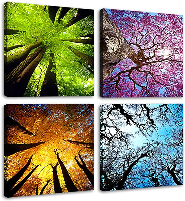 Moco Art 4 Panels Canvas Wall Art Spring Summer Autumn Winter Four Seasons Landscape Color Tree Painting Picture Prints Modern Giclee Artwork Stretched and Framed for Living Room Home Decoration