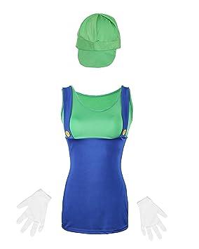 Disfraz de Mario para mujer de Emmas Wardrobe - Incluye traje de fontanero sexy con sombrero y guantes blancos - Traje de Mario y Luigi para ...