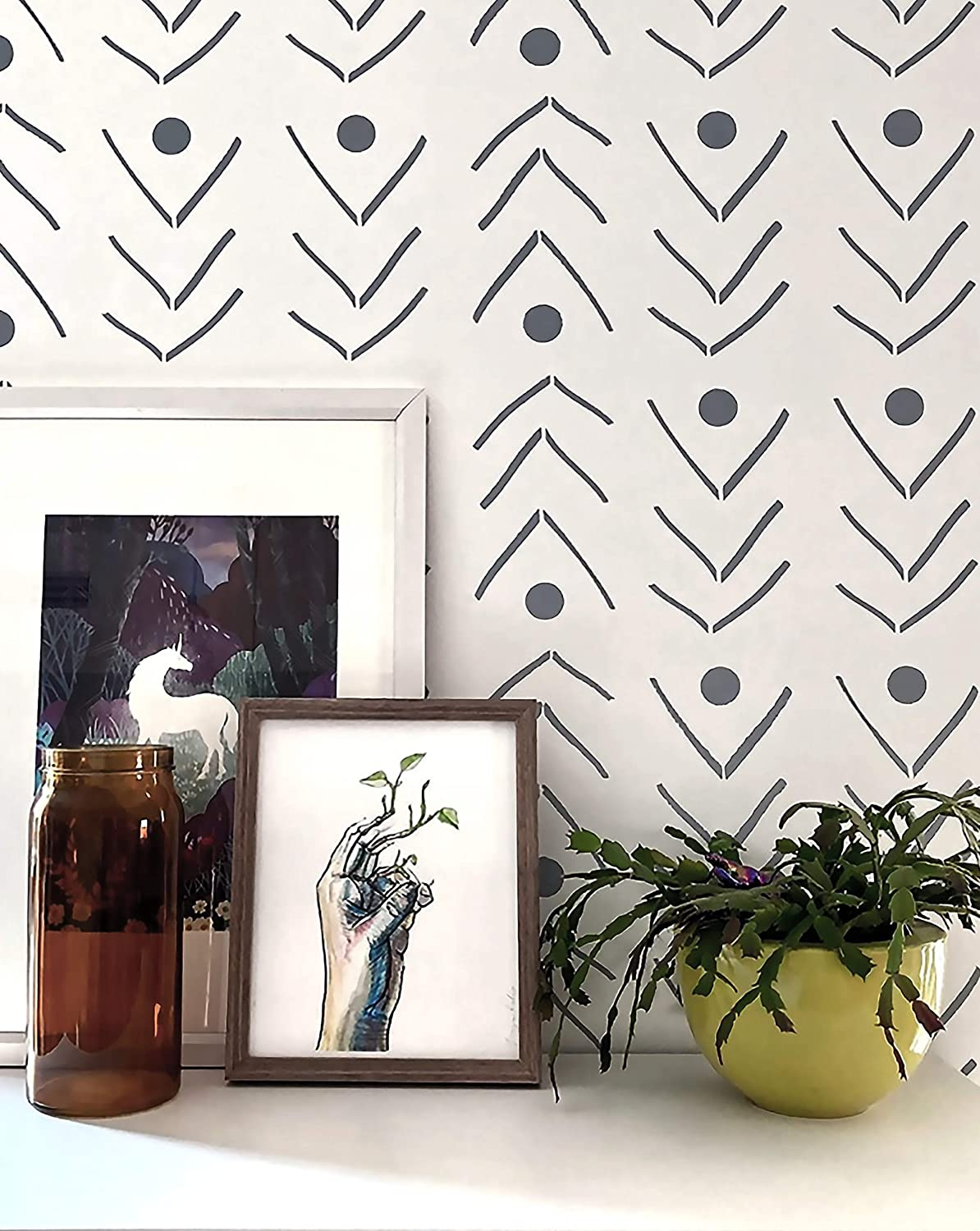 Large Wall Stencil STENCILIT Fishlane Large Stencils for Painting/ XL Size 24x31.5 Boho Wall Stencil//