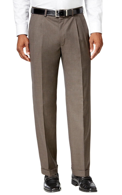 Nautica Brown Herringbone Double Pleated Cuffed New Mens Dress Pants 34W x 32L