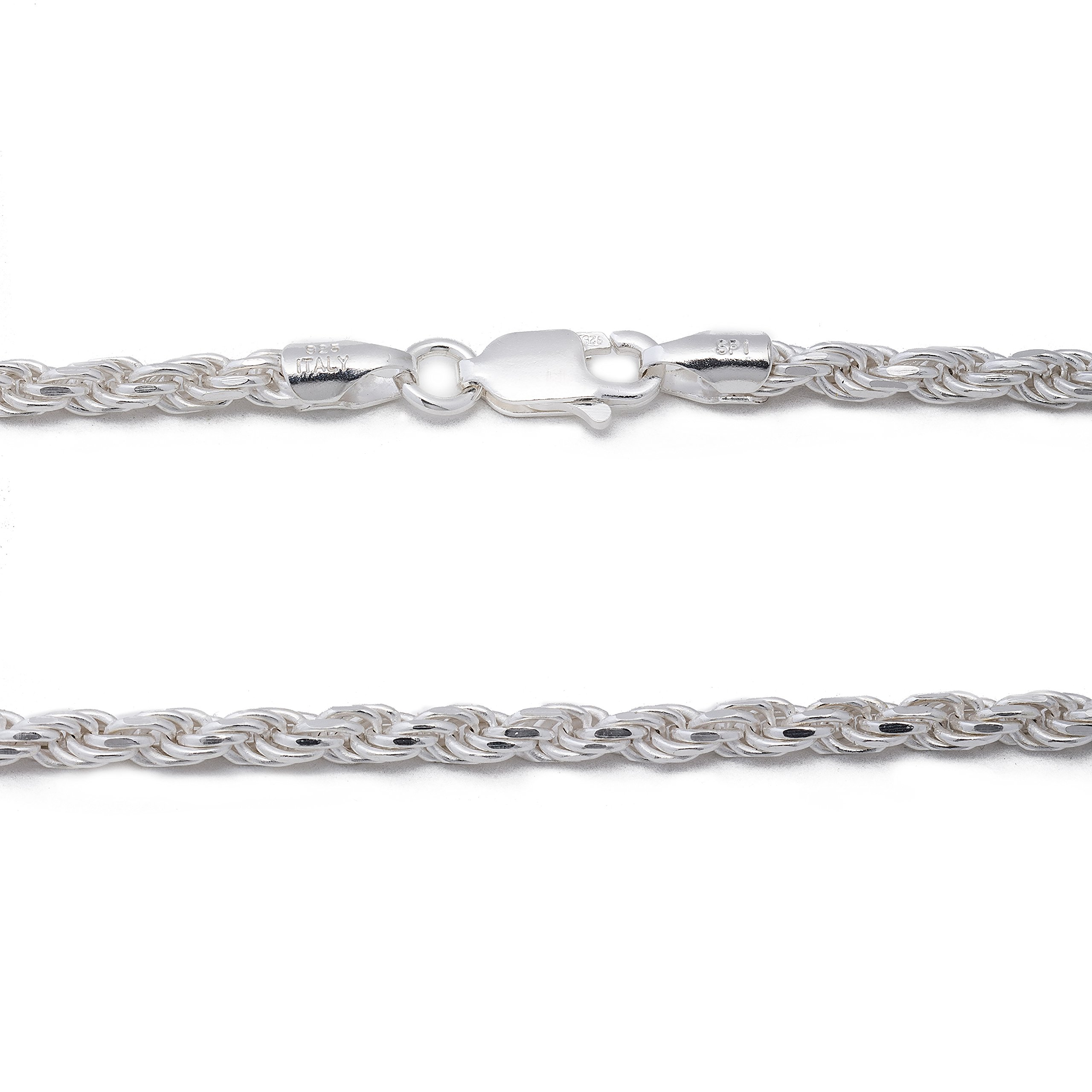 925 Sterling Silver 3MM Rope Chain Lobster Claw Clasp - 24'' by Designer Sterling Silver (Image #5)