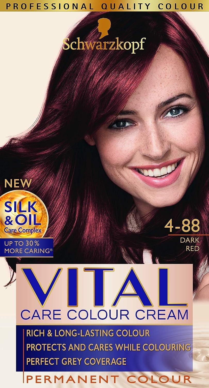 Vital Colors Schwarzkopf - Tinte para el pelo, color rojo oscuro, 4-88, paquete de 3