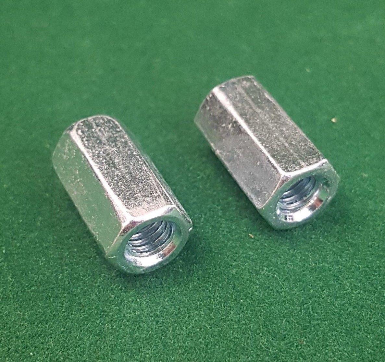 2 x M6 x 18mm FULLY THREADED BAR / ROD / STUD CONNECTOR - ZINC PLATED GCH