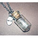 DANDELION WISH NECKLACE Silver Pltd GLASS BOTTLE PENDANT Lucky MAKE A WISH SEED Wisps