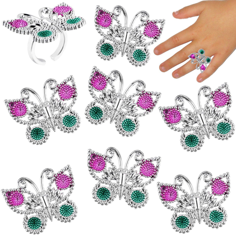 German-Trendseller ® 12 x bagues avec papillons ┃ pour les enfants┃bijoux┃cadeau-souvenir┃ l'anniversaire d'enfant ┃ Party Box