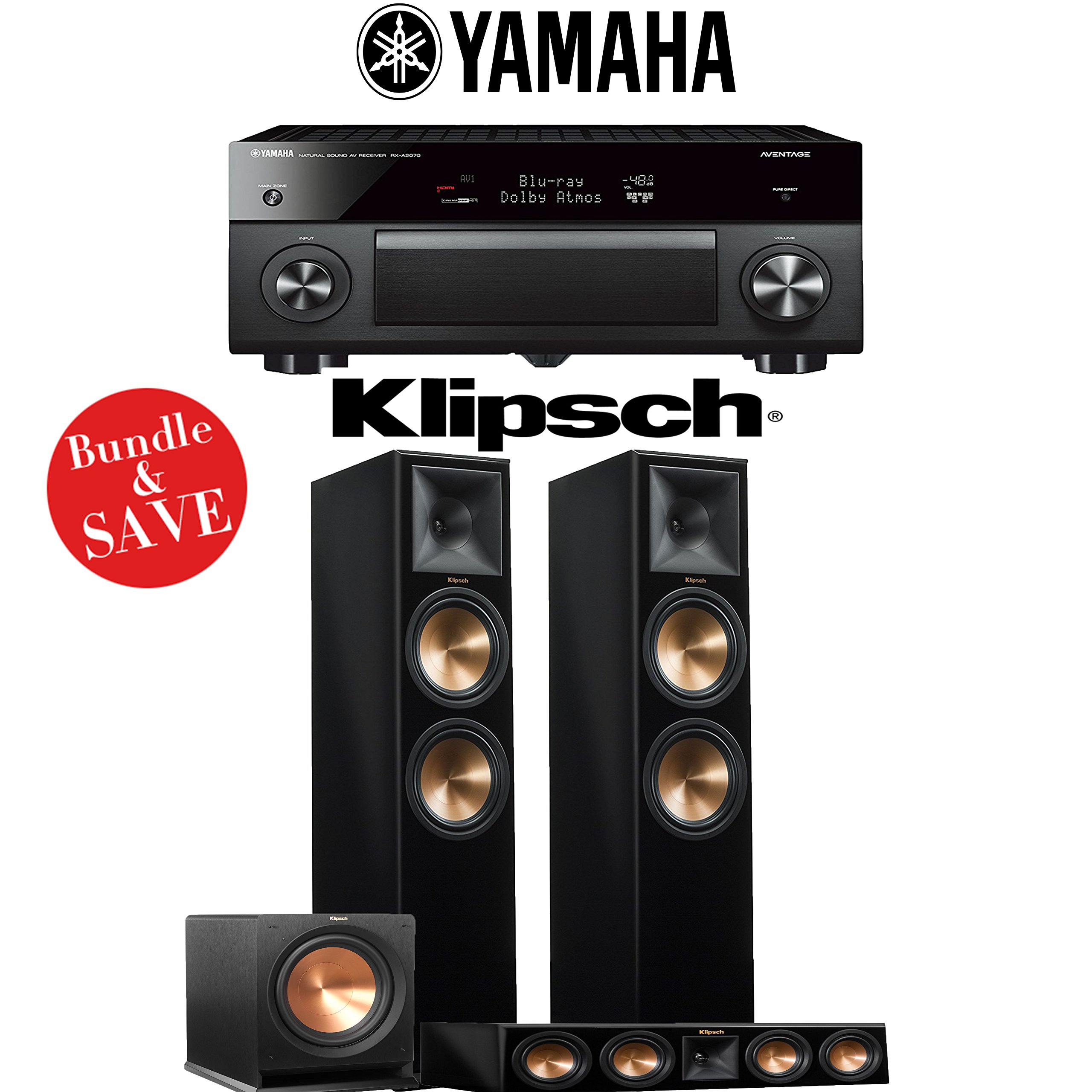 Yamaha AVENTAGE RX-A2070BL 9.2-Ch 4K Network AV Receiver + Klipsch RP-280F + Klipsch RP-440C + Klipsch R-112SW - 3.1-Ch Home Theater Package (Piano Black) by Yamaha