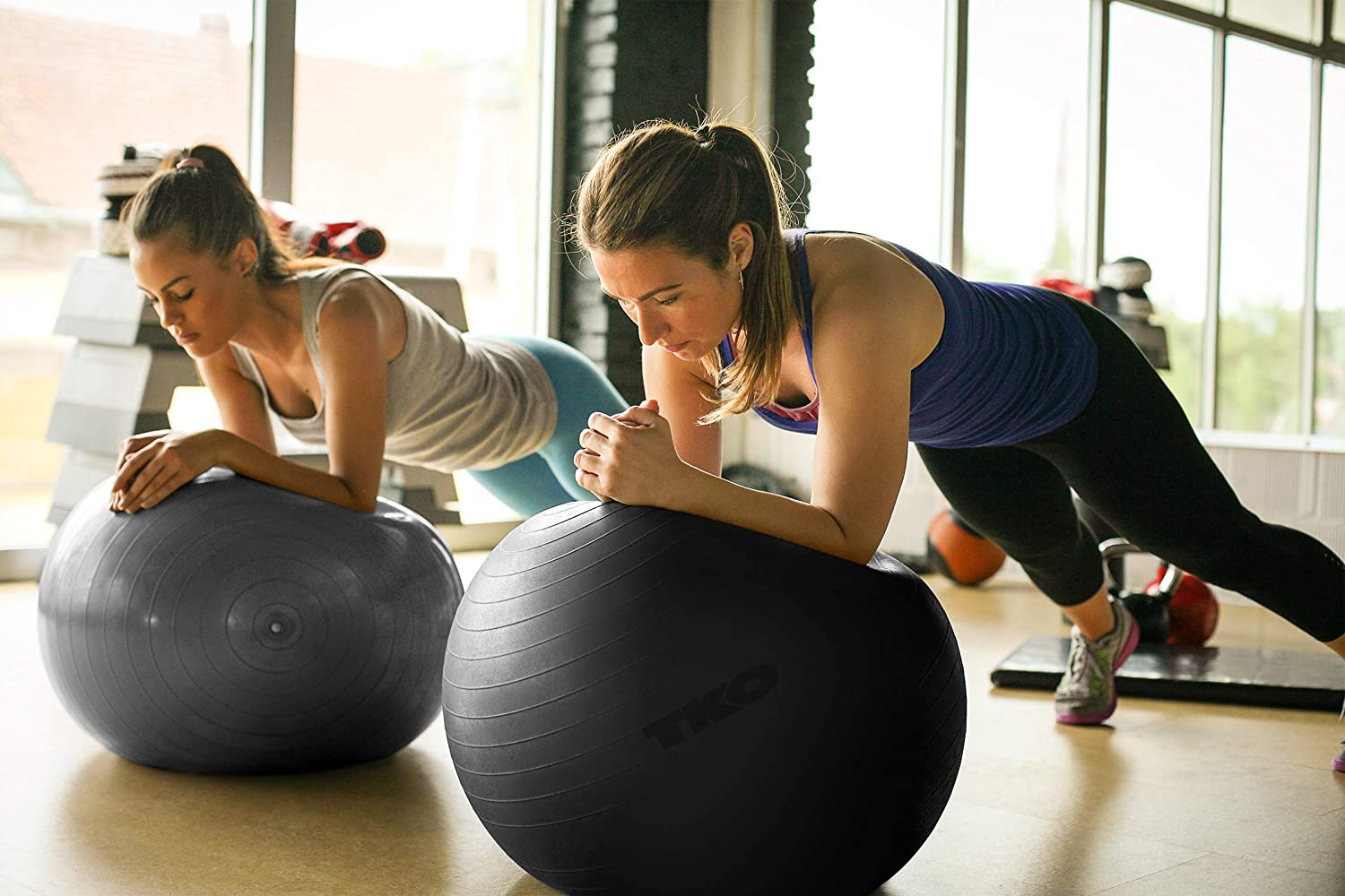 TKO Stability Exercise Ball - Multiple Sizes - for Stability, Fitness, Office, Gym, Balance & Yoga- Workout Guide & Pump Included- Anti Burst - ...