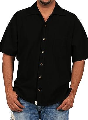 Cotton Natural Islander Button Down Short Sleeve Men's Shirt (3XL)