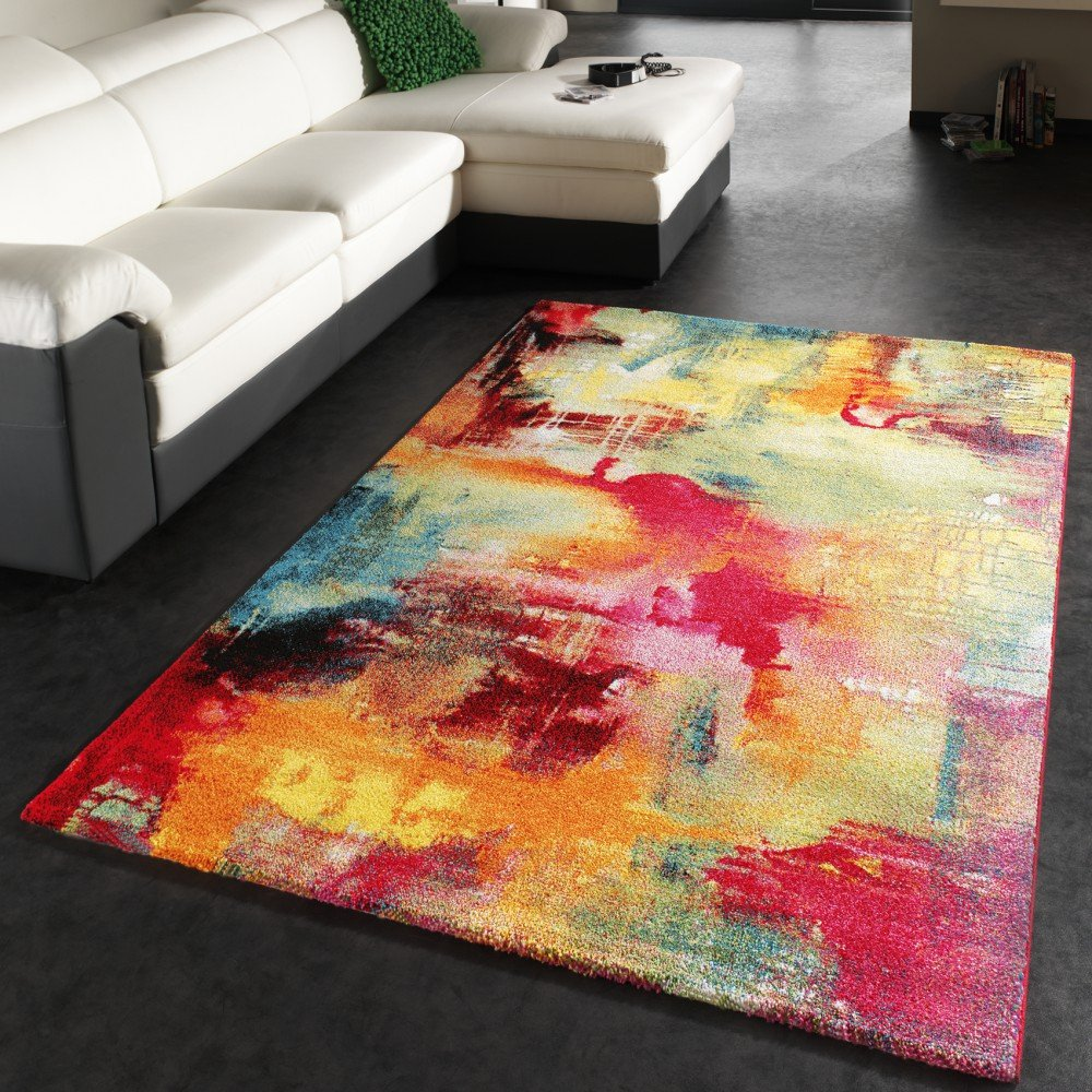 PHC Teppich Modern Design Teppich Leinwand Optik Multicolour Grün Blau Rot  Gelb, Grösse:160x230 Cm: Amazon.de: Küche U0026 Haushalt