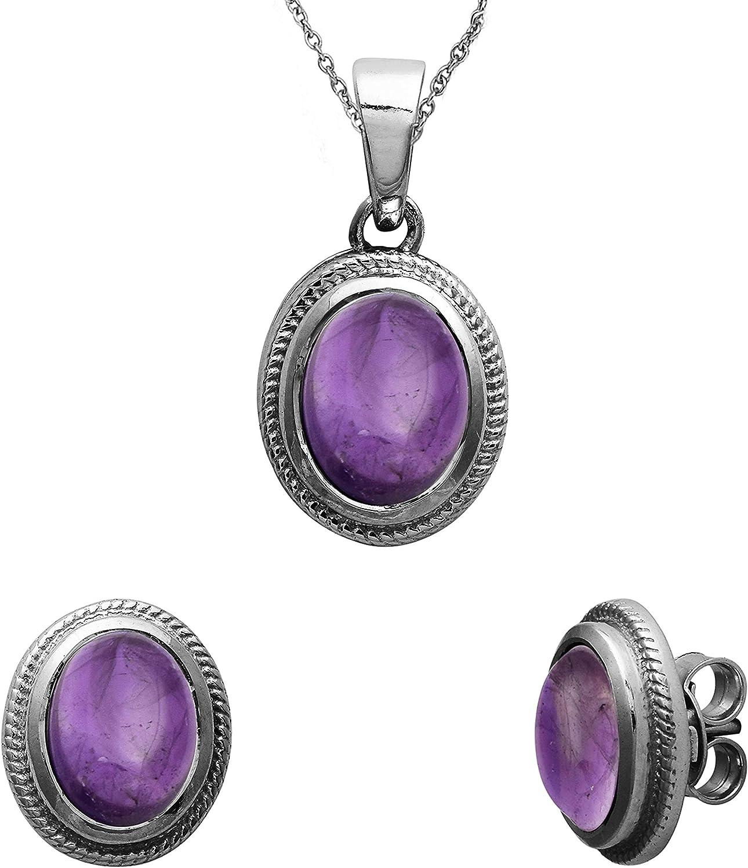 Shine Jewel Amatista de Piedras Preciosas de Plata de Ley 925 Forma Ovalada Colgante de Piedra para Mujeres