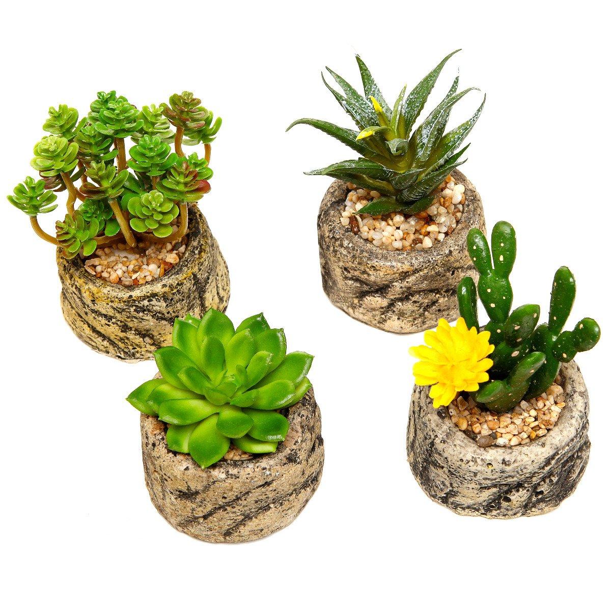Amazon.com : Assorted Set Of 4 Green Artificial Faux Mini Succulent Plants  W/ Pebble Sand Potted Stone Like Cement Pot : Garden U0026 Outdoor