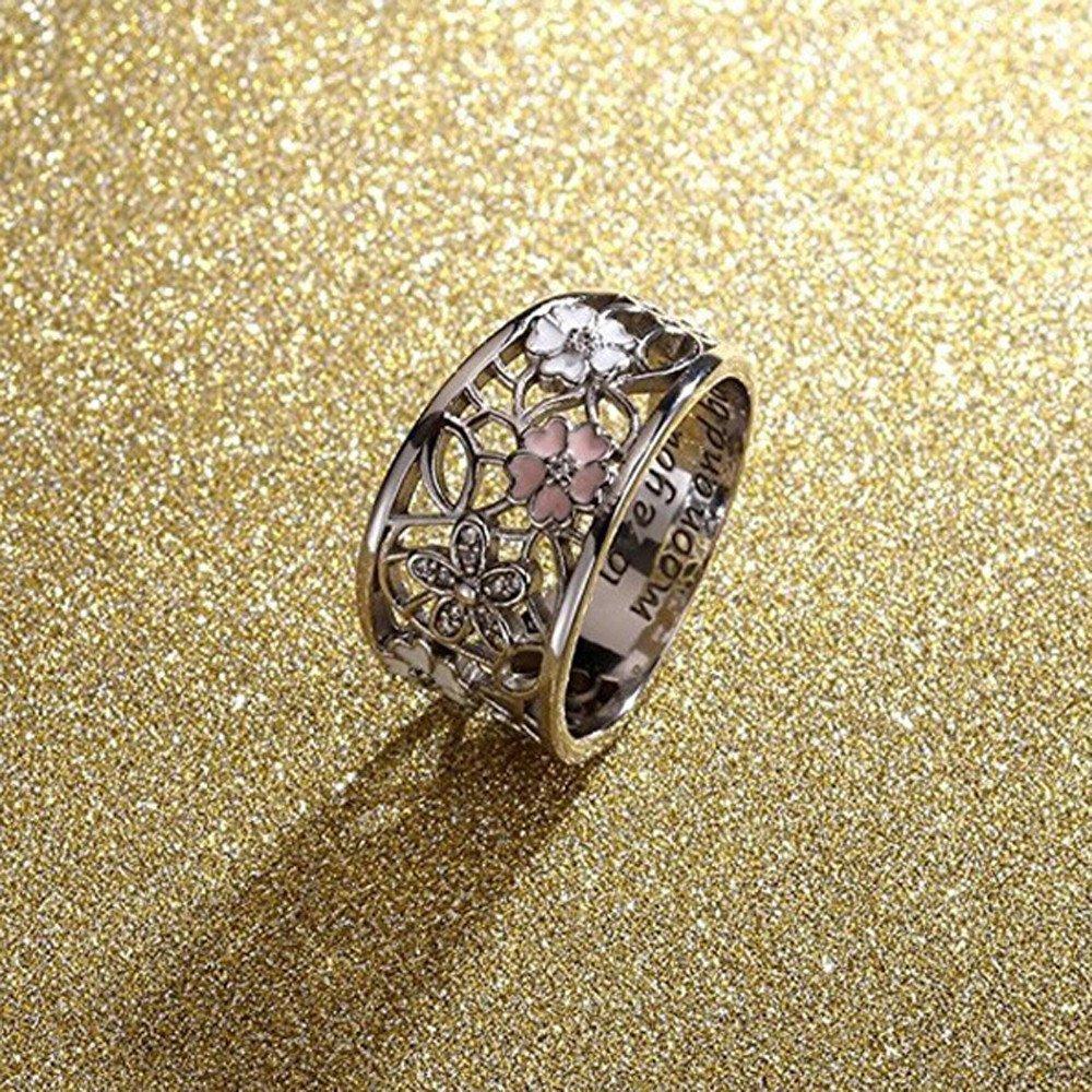 Bague de Gravure Originale Unique Siilrut Bague Cerise cr/éative sertie de Diamants