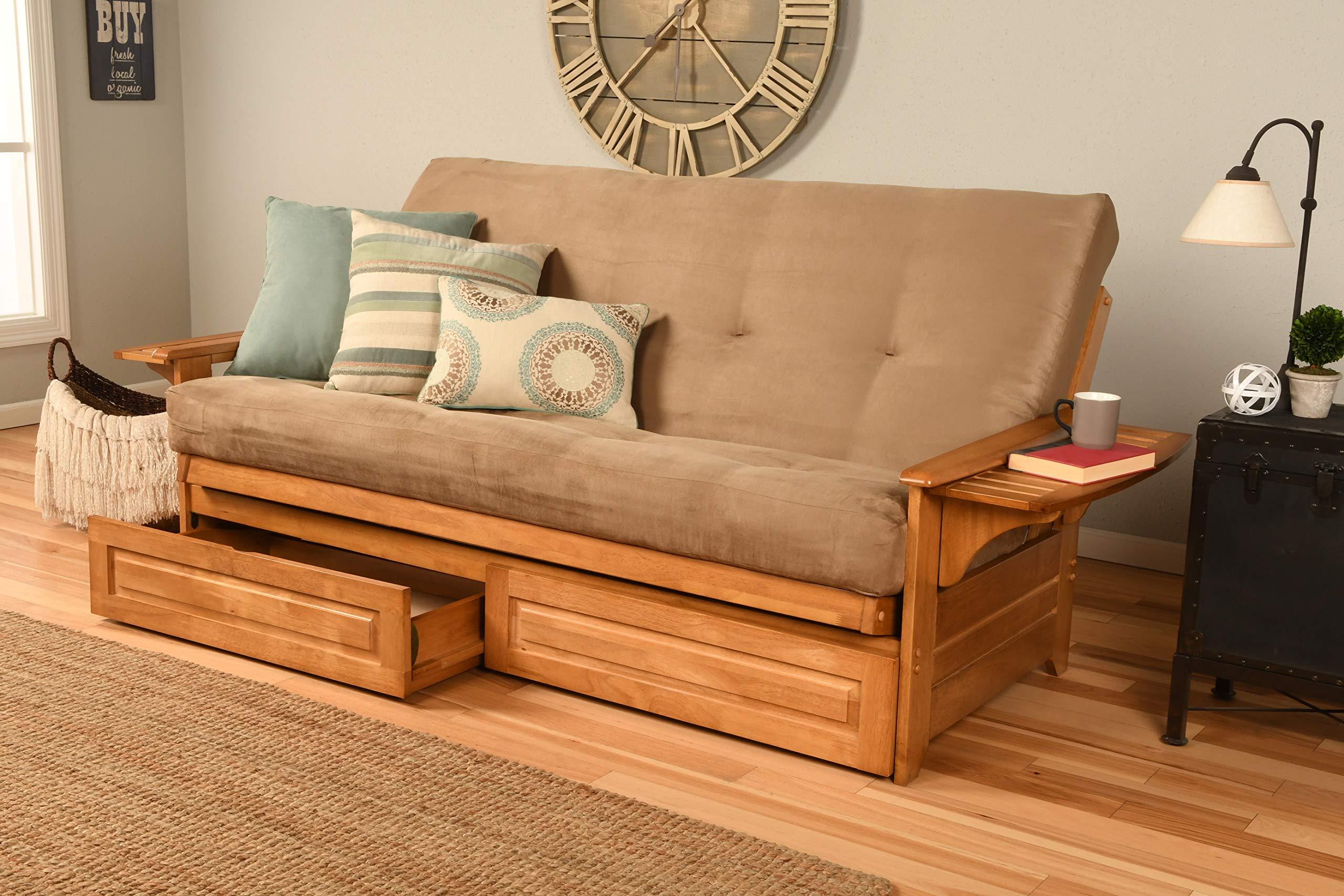 Kodiak Furniture 760719 Phoenix Full Size Futon in Butternut Finish with Storage Drawers, Suede Peat by Kodiak Furniture