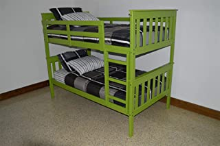 product image for Amish Kids Twin Over Twin Bunk Bed, Pine Wood, Lime Green Paint