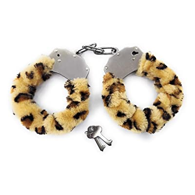 J&X. Plush Toy Handcuffs with Keys,Police Role-Play,Party Supplies,Detective Role-Play Accessories (Leopard Print): Clothing