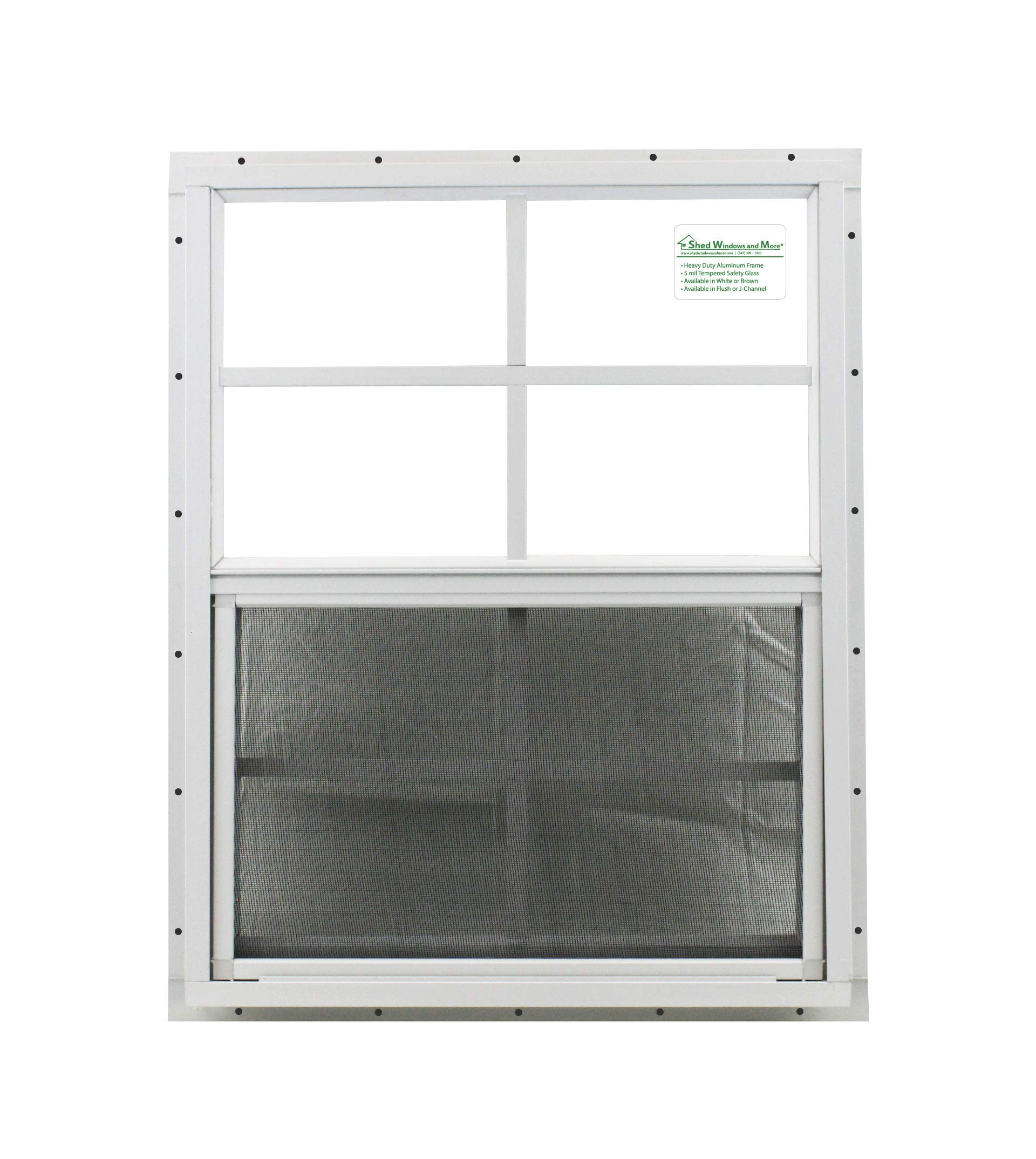 Shed Window 18'' X 23'' White J-channel Mount, SAFETY/TEMPERED GLASS Storage Shed, Playhouse