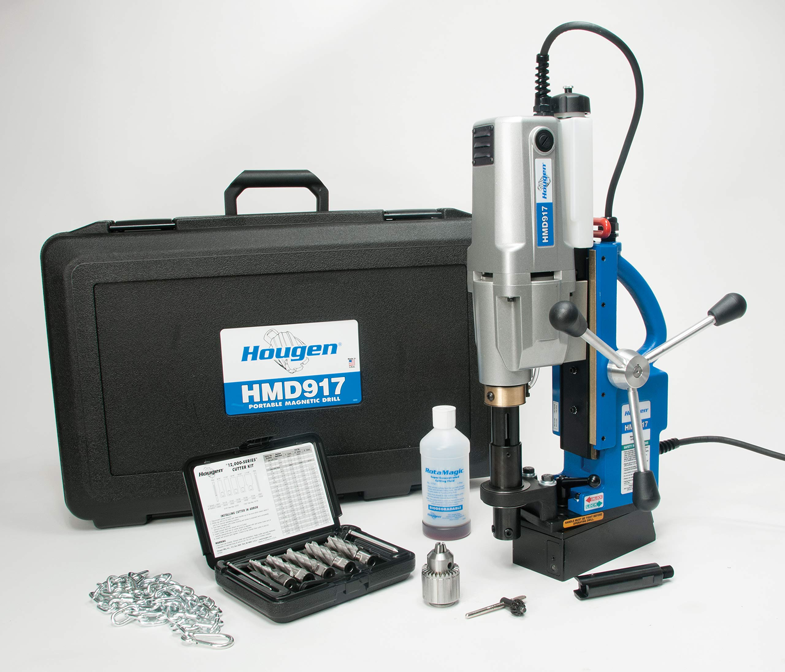Hougen HMD917 115-Volt Swivel Base Magnetic Drill 2 Speed/Coolant Bottle Plus 1/2'' Drill Chuck Adapter Plus 12002 Rotabroach Cutter Kit Our Most Powerful Two Speed Mag Drill for Heavy Duty Fabrication