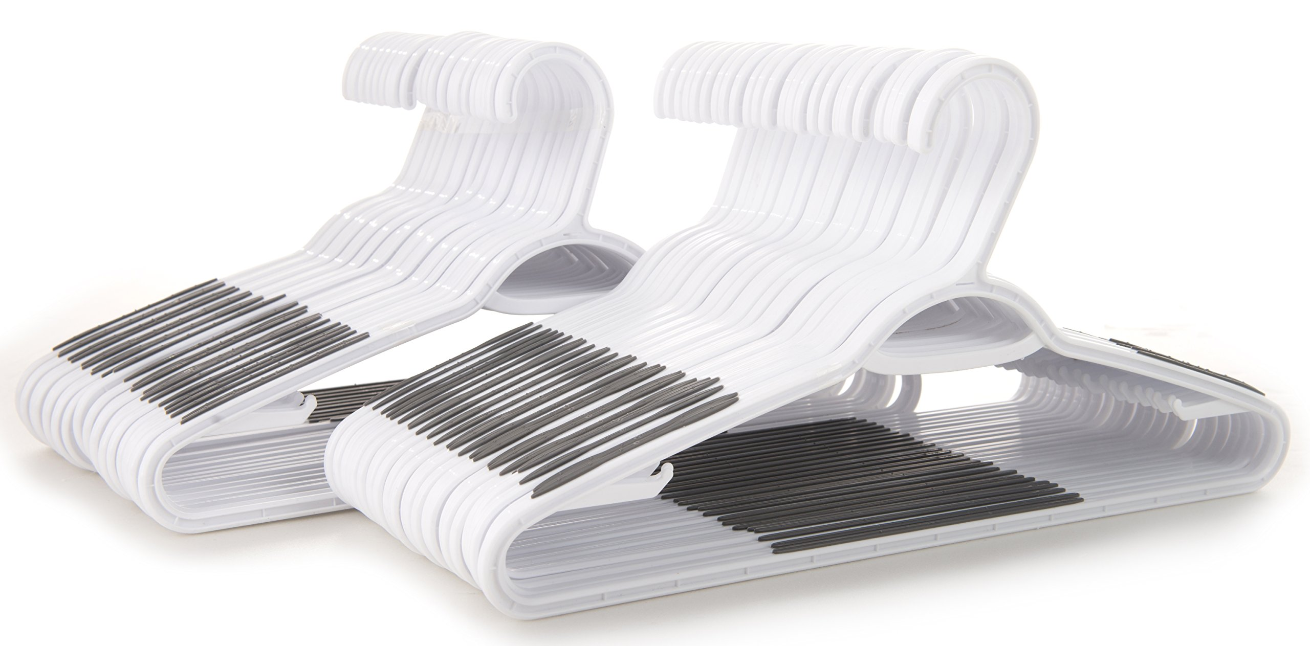 Popular Design Products 50 pc White Plastic Hangers with Built-in Grip Strip Non-Slip Pads - Perfect for Dresses, Blouses and Pants - Work Great for Shirts, Ties, Scarves and Sweaters