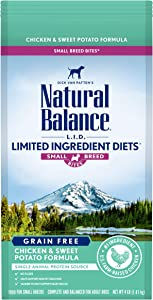 Natural Balance L.I.D. Limited Ingredient Diets Small Breed Bites Dry Dog Food, Chicken & Sweet Potato Formula, 4 Pounds
