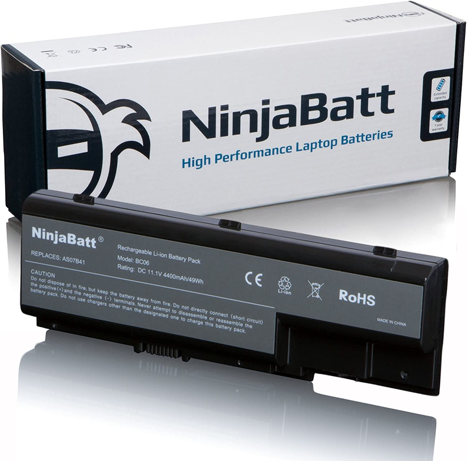 NinjaBatt Laptop Battery AS07B31 For Acer AS07B41 AS07B51 AS07B61 AS07B71 AS07B32 AS07B42 AS07B52 AS07B72 Aspire 7520 5720 5520 5310 7720 5315 Gateway MD2614u MD7818u MD2601u - [6 Cells/4400mAh/11.1V]