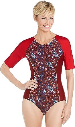 6bc99537ae Coolibar UPF 50+ Women's Short Sleeve Swimsuit - Sun Protective at Amazon Women's  Clothing store: