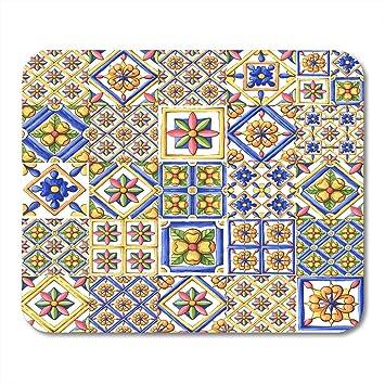 Alfombrilla de ratón Adornos de azulejos Azulejos Acuarela España Italia Mayólica Floral Marrón Alfombrilla para notebooks, Computadoras de escritorio Alfombrillas de ratón, Suministros de oficina: Amazon.es: Electrónica