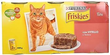 Friskies fuagrás para el Gato, con Ternero y Verduras, 3 x 400 g –
