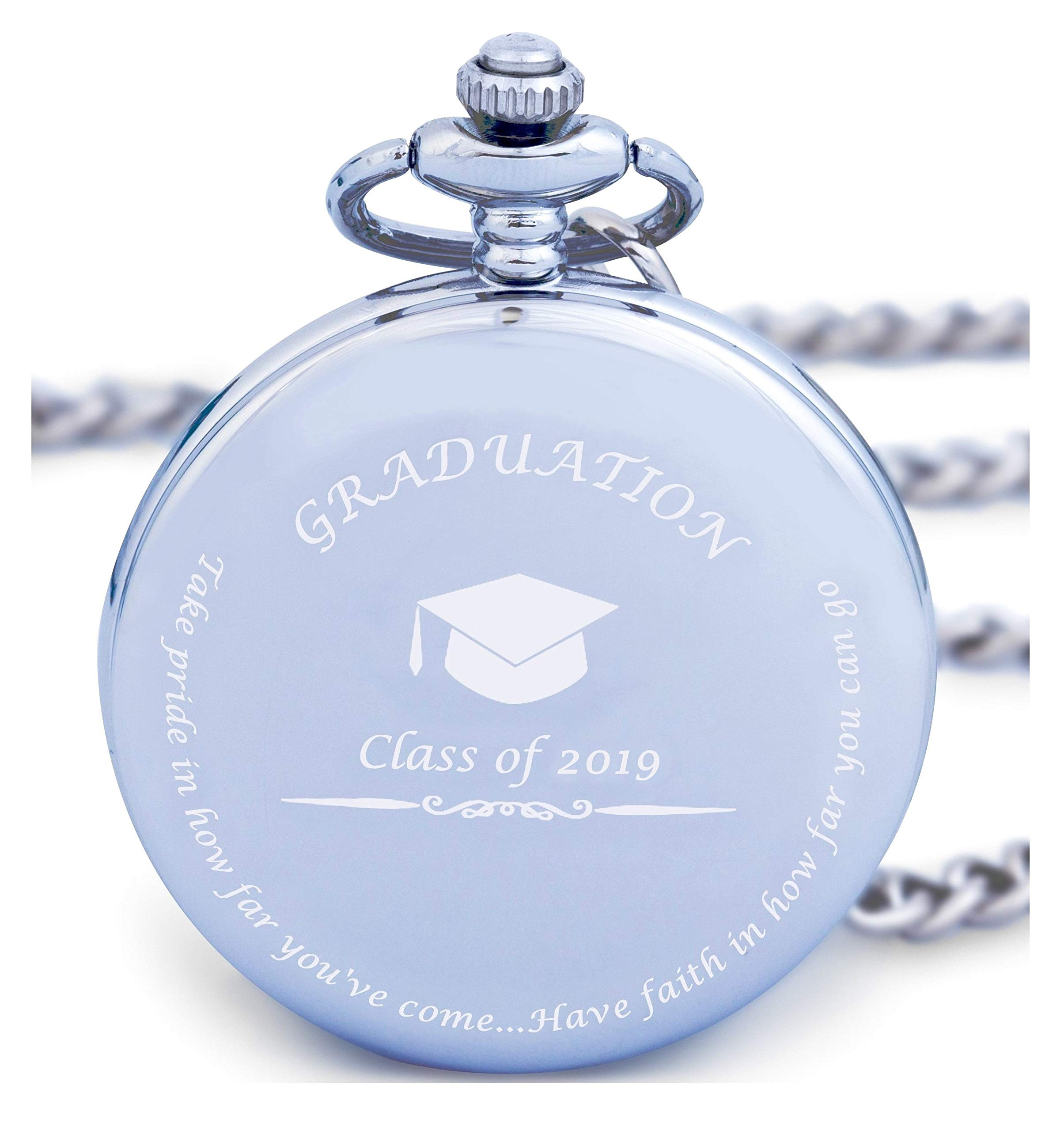 Graduation Gifts for Him - Pocket Watch - Engraved 'Class of 2019' - Perfect College / High School Graduation Gift or Present for Son | Him in 2019