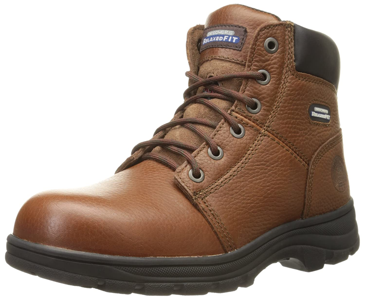2da760a80a Skechers for Work Men s 77009 Workshire Relaxed Fit Work Steel Toe Boot  Brown 10 2E US  Amazon.in  Shoes   Handbags